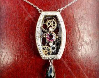 Vintage Steampunk Garnet Necklace
