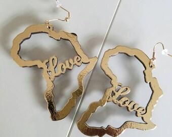 Gold Foil Wood Love For Africa Earrings