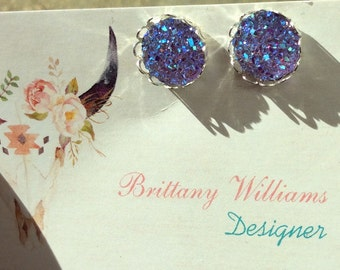 12mm- lavender Druzy earrings