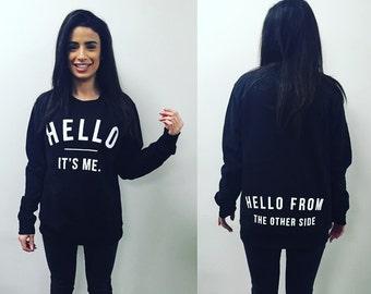 Adele Sweater Sweatshirt Unisex Jumper Popstar Hello Slogan Top