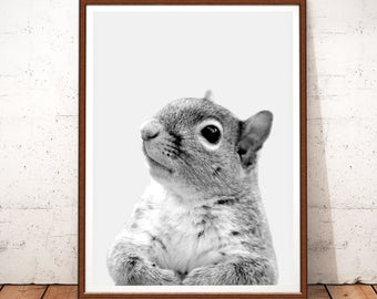 Squirrel Print, Woodlands Nursery Print, Instant Download, Squirrel Printable Art, Animal Art, Woodlands Animal Wall Art,Black and White