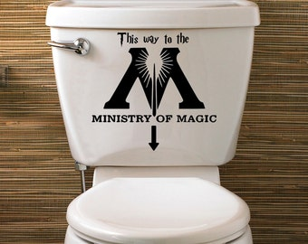 Ministry of Magic Decal, Harry Potter, This Way to the Ministry Of Magic toilet decal, Harry Potter Bathroom & Home Decor, Rental Decor