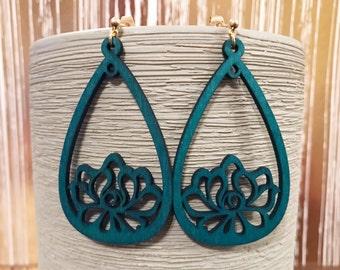 Dark blue wood teardrop earrings with tiny gold stud