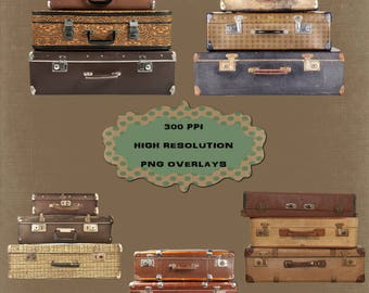 5 Stacked Vintage Suitcase Prop Overlays, High Resolution, Instant Download.