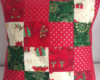 Christmas cushion, Christmas pillow, quilted pillow, patchwork cushion cover,  Stars Red Cream and Green Quilted Patchwork cushion cover