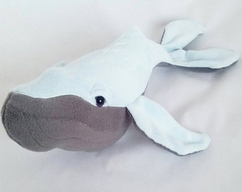 Baby Humpback whale,plush whale, cuddly whale,blue and grey whale, whale Teddy,  whale plush, baby whale