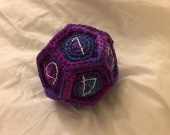 Large Plushie d12 Die - Crochet Toy