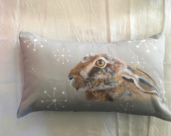 Cushion gray and white hare