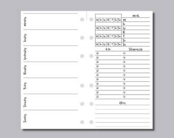 PERSONAL RINGS SIZE: Undated Week on 2 Page Horizontal Printable Insert