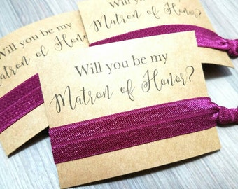 Will You Be My Matron Of Honor Favors | Bachelorette Party Favors | Matron of Honor Proposal | Bridesmaid Gift | Hair Tie Favors