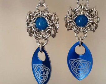 Blue Bead and Scale Romanov Earrings