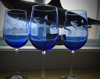 Shark Glass Etched Wine Glass/Cobalt Blue Wine Glass/glass etched