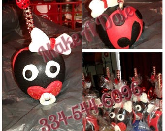 Custom Lady Bug Baby Shower theme Candy Apples