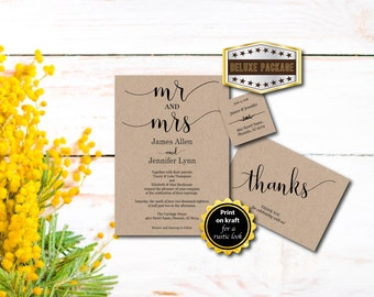 Wedding Invitation, Mr and Mrs Invite, Deluxe Invite Set, Thank You, RSVP, Template Instant Download, Printable, Editable PDF, Digital E123A