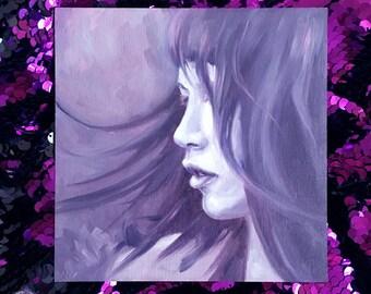 Violet - Original Oil Painting on Wood - Fantasy Art Surreal illustration