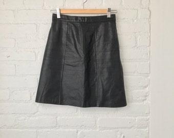 vintage 80's BLACK LEATHER skirt!  size 4/6