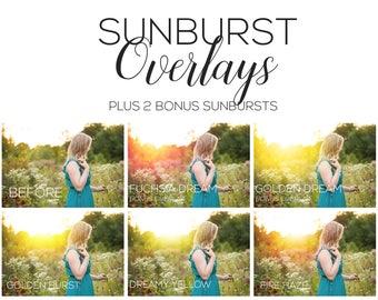 Sunburst Overlays + 2 NEW Sunbursts! | Photoshop overlays, Photoshop actions, sunflare overlays, sunflare actions, photography overlays