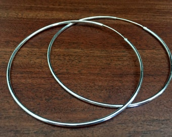 Sterling silver oversized hoop earring