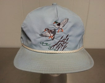 Vintage 80's Nature Scene Ducks on Pond Snap Back Dad Hat Light Blue Made In USA