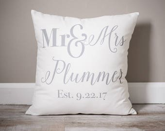 Mr and Mrs Pillow | Custom Monogrammed Pillow | Pillows with Mr and Mrs Last Name & Established Date | Wedding Gift | Wife Gift