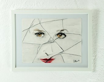 Original watercolor, painting, mixed media, portrait