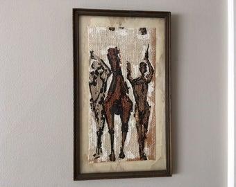 Vintage Country Western/Southwestern Painting on Linen of Cowboy/gun/horses/art/framed