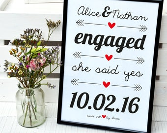 Engagement congratulations print, newly engaged gift, bride and groom to be, happy engagement, she said yes, date he proposed, for a frame