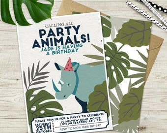 Vintage Safari Party Animals Invitations