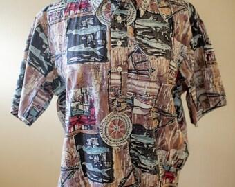 80s Hilo Hattie Fishing Shirt // Hawaiian Shirt