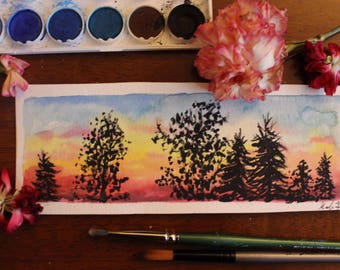 Watercolor sunset tree silhouette mini painting