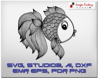 Zentangle Fish mandala files - cuttable Cricut Design Space, Silhouette Digital Cut Files, Instant Download, svg dxf studio3 dendoodle