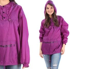 Vintage Rain Coat 80s Hooded Bomber Drawstring Windbreaker Rain Track Jacket Purple Half Button Up Vintage Kangaroo Pocket Sport Unisex Xl