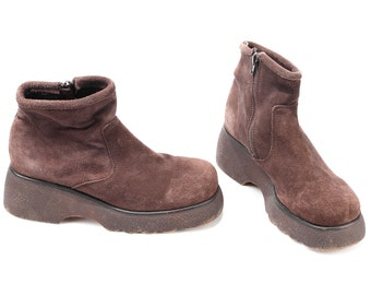 Chunky Platform Boots Grunge 90s Suede Zip Up Women Brown Rugged Wedge Sole Wide Fit Vintage Padded Top Booties Us women 10.5, Eur 41, Uk 8