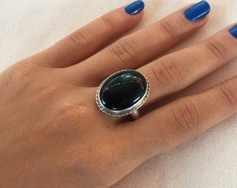 Black onyx Ring, sterling Silver Ring, Onyx silver Ring, 925 Sterling Onyx Ring, Silver onyx Ring, Ring size US 9, Oval Ring, Onyx jewelry,