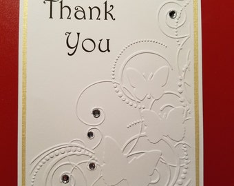Handmade Thank You Greeting Card Embossed and with Rhinestones