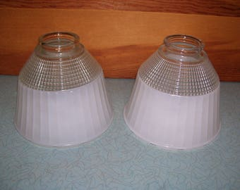 Vintage Frosted and etched Glass Lamp Globes