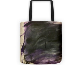 Abstract Skull Ink and Acrylic Tote
