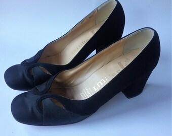 Vtg Black Leather Pumps Womens Size 7, Ladies Vintage Dress Heels