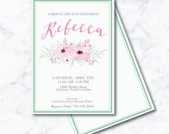 Floral, Pretty Bridal Shower Custom Invitation
