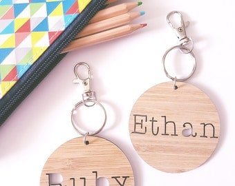 Bag Tag / Keyring Wood Bamboo Personalised Custom Ruby Design-round-school-keys