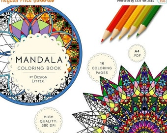 80% Until New Year - Adult coloring book, SALE coloring book, mandala, downloadable coloring book with 16 colorable pages calming mandala co