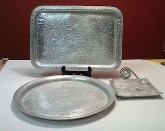Vintage Hammered Aluminum trays Retangle,Square and Round