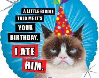 "Grumpy Cat Birthday Balloon- Holographic 18"" Foil Balloon- Funny Birthday Balloon"