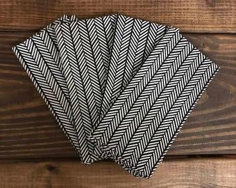 Cloth Napkins - Black & White Herringbone - Set of 4 - Handmade Cloth Dinner Napkins