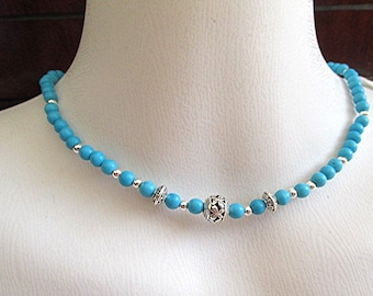 Turquoise choker necklace gemstone necklace howlite turquoise howlite necklace meditation healing necklace yoga necklace boho gift.
