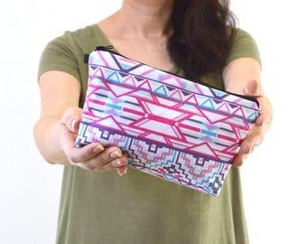 "Aztec Geometric Print Zippered Cosmetic Bag, Make-up Bag, Toiletry Bag, Pouch - 8"" x 5.5"""