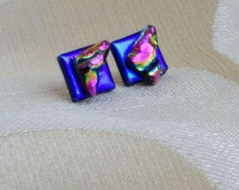 Gorgeous Purple and pink Dichroic glass sterling silver earrings, handcrafted kiln fired glass in a presentatio box