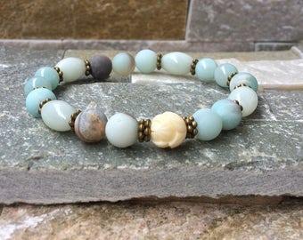 Lotus/Amazonite mala bracelet