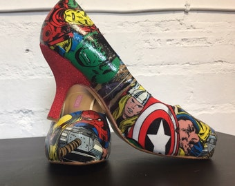 Marvel Comic Book Bridal Shoes Wedding Low Heels Fabric or Comic book pages