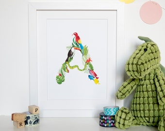 Jungle Initial Watercolour Print/ new baby/alphabet/jungle/animal/rainforest/christmas gift